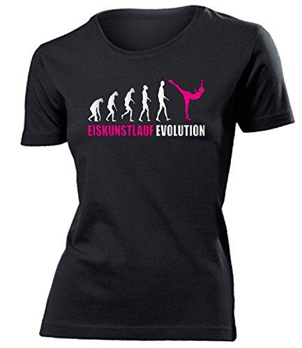 Eiskunstlauf Evolution 4581 Wintersport Schlittschuh Shirt Tshirt Fanartikel Fanshirt Frauen Sportbekleidung Damen T-Shirts Schwarz Aufdruck Pink XL