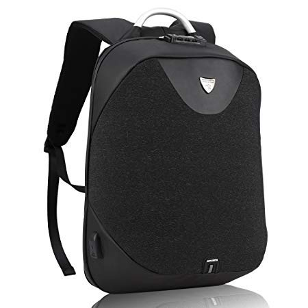 REWY Business Anti-Theft Fabric Water Resistant USB Charging Port Black Laptop Backpack - Colour may Vary