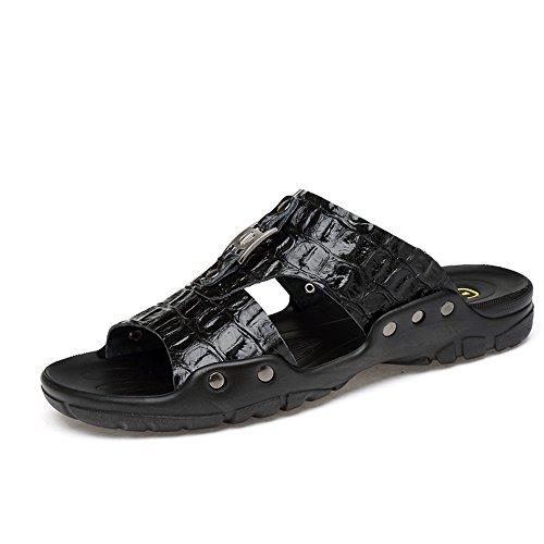 HILOTU Zapatillas de Hombre Sandalias caseras Suaves y Transpirables Ocasionales Antideslizantes Cuero de Vaca Sandalias de Playa de Gran tamaño (Color : Negro, tamaño : 49 EU)