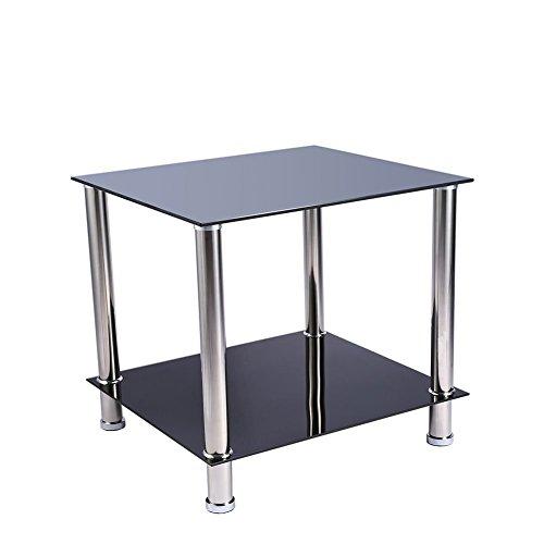 GOTOTOP Table Basse Salon Moderne en Verre Trempé Noir et Tube Acier Chromé 49,5x45,6x45,5cm