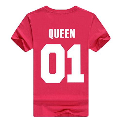 ZKOO Donne KING & QUEEN Corona Stampa T-Shirt Camicetta Camicia Per Lovers Casuale Moda Donna Maschile Regina/Red Rose#2