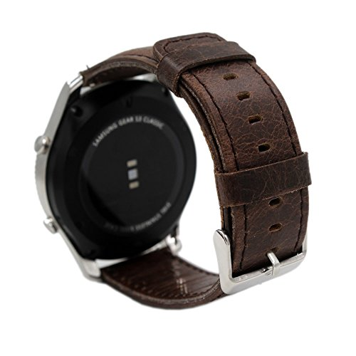 Pinhen 16mm Pulsera de Repuesto 16mm Correa Reemplazo Genuine Cuero Correa de Reloj para Moto 360 42mm Woman, Huawei TalkBand B3 (16mm Coffee)