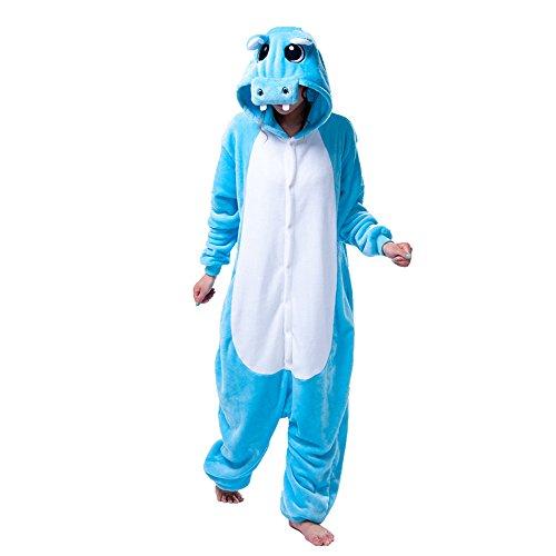 Missley Einhorn Pyjamas Kostüm Overall Tier Nachtwäsche Erwachsene Unisex Cosplay (M, (Halloween Kostüme Hippo)
