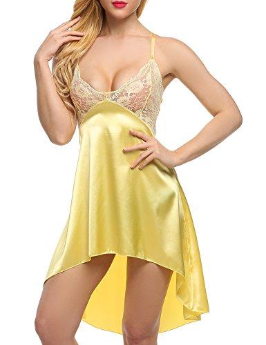 ADOME Damen Satin Kleid Nachtkleid Spitze Nachthemd Rückenfrei Dessous Set Spitze bh Nachtwäsche Negligee Lingerie Gelb XXL