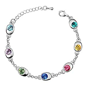 Silver Swarovski Elements Crystal Diamond Accent Round Circle Bracelet for women teenage girls, with a Gift Box, Ideal Gift for Birthdays / Christmas / Wedding--Multicolor, Model: X15366