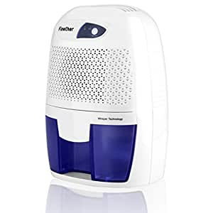 Finether Mini Déshumidificateur d'Air 500ml Réservoir Déshumidificateur Electrique Portable Sécheur d'Air Dehumidifier pour Maison Salle de Bain Cuisine Garage EU