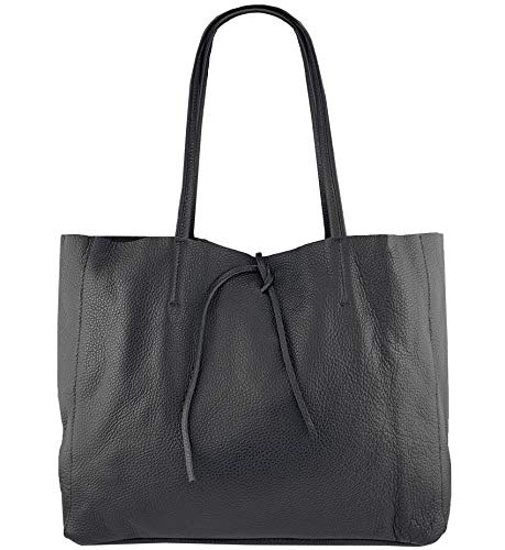 Freyday ORIGINAL Echtleder Shopper mit Innentasche in vielen Farben Schultertasche Henkeltasche (Schwarz) - Schwarze Leder-shopper