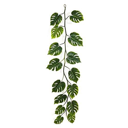 artplants – Kunst Philodendron Girlande Analicia, grün, 15 Blätter, 230 cm – Künstliche Philo Ranke/Deko Blätter Girlande
