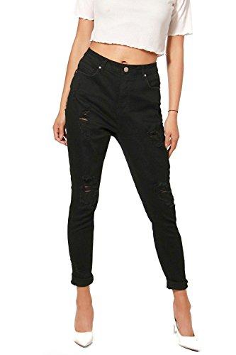 Noir Femmes Hillary Jean Skinny Taille Haute Aspect Vieilli Noir