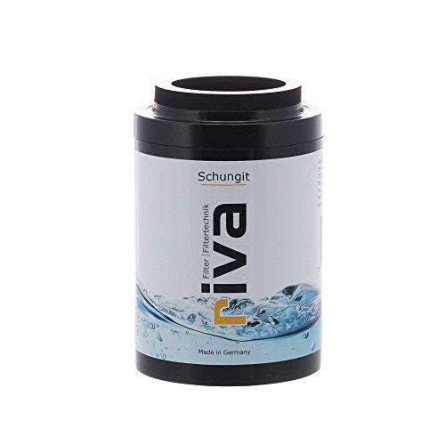 riva Filter SCHUNGIT Duschfilter Ersatzkartusche | Wasserfilter - reinigt, energetisiert. Natürlich antibakteriell für bessere Haut und Haare durch Energiestein-Filter -