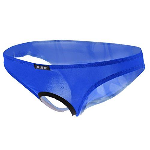(Prettyia Herren Dessous Unterwäsche Slip reizvolle Männer Badehose Bikini Slip Unterhose Mit Offener Front - Blau, L)