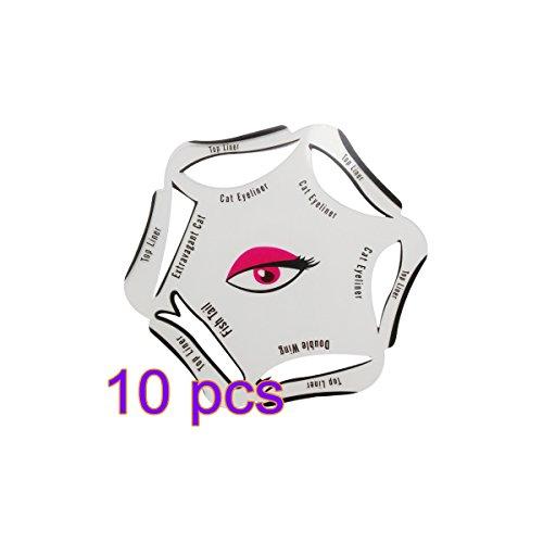 Frcolor 6 en 1 Smoky Eyeliner Stencil Plantilla Herramienta de maquillaje del molde, paquete de 10
