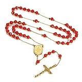 FaithHeart Edelstahl Kette Damen Kreuz Anhänger Ketten Halskette Kreuzanhänger Perlen Rosenkranz Geschenk Schmuck Gelb/Rot