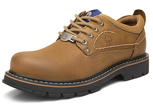 CAMEL CROWN Herren Leder Arbeitsschuhe Sicherheit Turnschuhe Bequeme Sportlich Wanderschuhe Rutschfeste Schuhe Männer Sicherheitsstiefel Toe Herren-schuhe