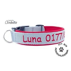 Hund&Hals – Halsband 1.0 – Hundehalsband mit Namen und/oder Telefonnummer bestickt personalisiert