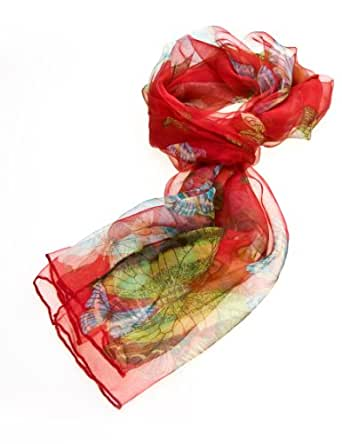 Women's Multi Function 100% Pure Silk Butterfly Scarf/ Headwear Tested by leading authority /Red