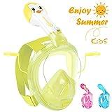 HENGBIRD Tauchmaske Vollgesichtsmaske mit Antibeschlag Antileckage Schnorchelmaske Tauchermaske für Kinder (Kinder-Gelb)