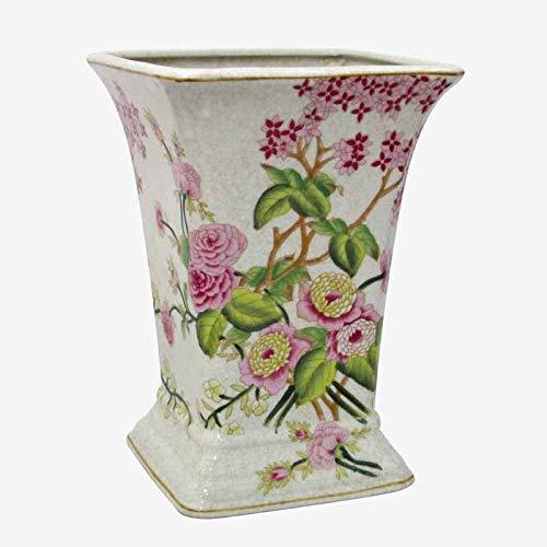 Better & Best Vase aus Keramik, quadratisch, hoch, verziert mit Camelias, Maße 19 x 19 x 25 cm China Vase