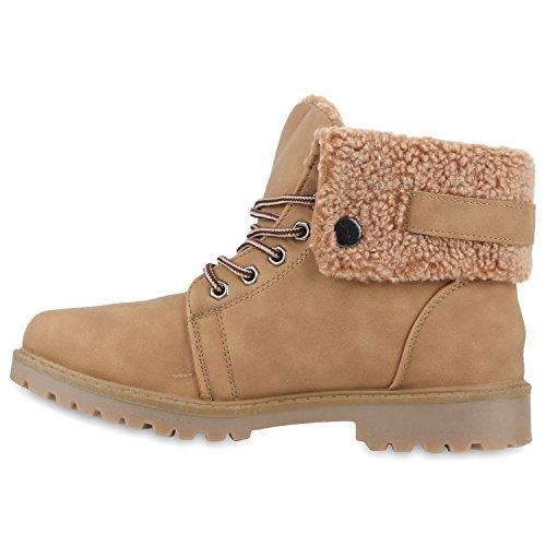 Warm Gefütterte Damen Outdoor Boots Kunstpelz Stiefeletten Schnallen Khaki