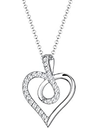 Elli Damen-Kette mit Anhänger Herz Liebe 925 Silber teilvergoldet Zirkonia weiß Rundschliff