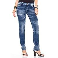 Cipo&Baxx WD364 Yıkamalı Aşınmış Koyu Mavi Bayan Kot Pantolon