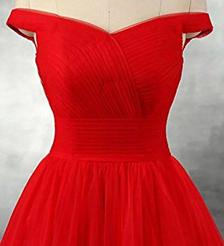 Vickyben Damen langes Ab-Schulter Tuell Prinzessin Kleid Abendkleid Ballkleid Brautjungfer kleid Party kleid Blush