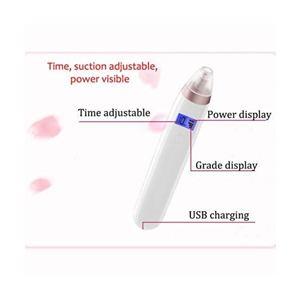 MKOIJN Extractor de espinillas Limpiador de poros Aspiradora Limpiador de Nariz Nariz Acné Extractor de Comedones con Pantalla LED 4 Cabeza de succión 3 Fuerza de succión Carga USB
