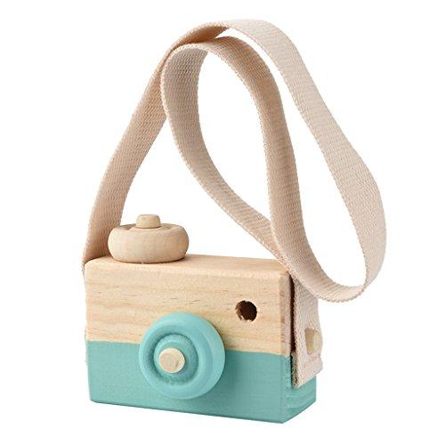 IPOTCH Juguete Mini Linda Cámara de Madera para Niño Bebé Accesorios de Fotografía Adorno de Habitación Infantil - Verde