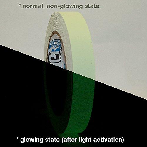 Pro Tapes Leuchtendes Klebeband, pro-glow, leuchtet im Dunkeln, 10Stunden, 9,14 m lang, grün (Blacklight Panel)