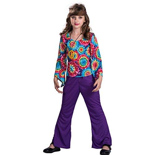 EraSpooky Liebe Frieden Hippie Kostüm für Mädchen (Frieden Und Liebe Hippie Kostüm)