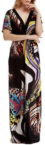 Mochoose Maxi Robe D'été Plage Longue Manches Courtes Boheme Imprimée Chic Col V pour Femme Noir Papillon
