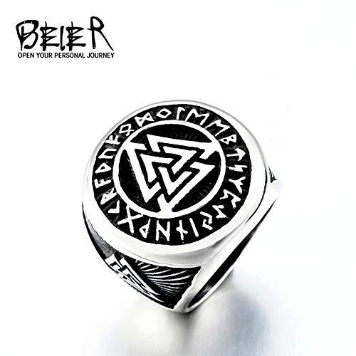 ZUXIANWANG Ring Männermode Vintage Ring Edelstahl Charakter Geometrie Geschenk Pirat Round Rock Le Schmuck Junge Geschenk, 7.
