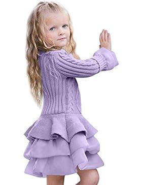 Vestito Abiti Bambina Inverno , Beauty Top Bambini Ragazze Knitted Maglione Inverno Pullover Uncinetto Tutu Vestito...