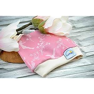 Mütze aus Bio-Baumwolle, für Frühchen 44 48, Beanie für Babys, Erstlingsmütze, rosa pink beige, Feen Elfen Blumen, Interlock, Mädchen