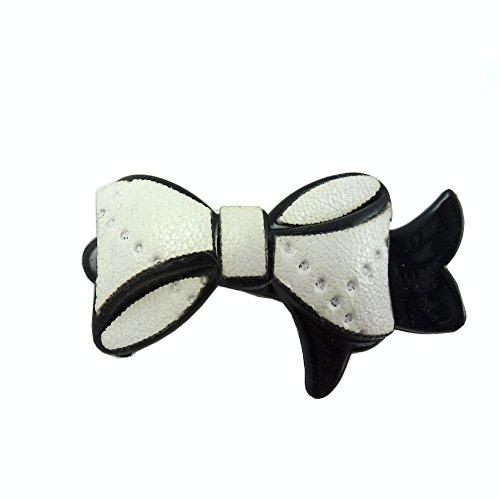 rougecaramel - Accessoires cheveux - Mini pince cheveux fantaisie forme noeud - blanc