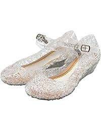 Brillantes Zapatos de Princesa para Niñas, Sandalias de Cristal Zapatos Disfraz Niña Princesa Zapatos de Vestir Cumpleaños Fiestas Zapatos de Tacón Bajo