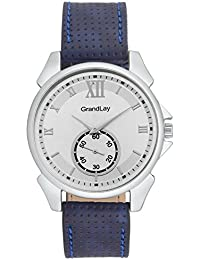 GRANDLAY MG-3066 SILVER DIAL WITH BLUE STRAP STYLISH WATCH FOR MENZ