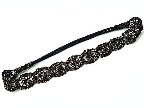 rougecaramel - Accessoires cheveux - Headband/bandeau/bijou de tête tissu dentelle lamé - doré