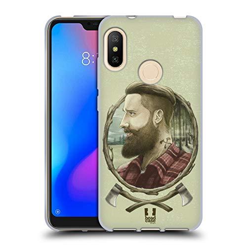 Head Case Designs Holzhacker Männliche Hipsters Soft Gel Hülle für Xiaomi Mi A2 Lite/Redmi 6 Pro