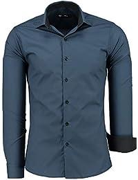 761b2940e936 TMK Herren Hemd - Slim - Fit - Langarm - Premium Bügelleicht Hemden für  Business,