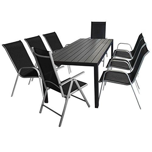 Multistore 2002 9tlg. Sitzgarnitur - Tisch, Polywood Tischplatte, 205x90cm + 6X Gartenstuhl, stapelbar, Textilenbespannung + 2X Hochlehner, klappbar, Verstellbar