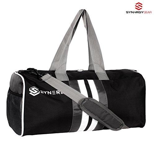 SynergyGear Premium Black Gym Bag For Men & Woman / Sports Duffel