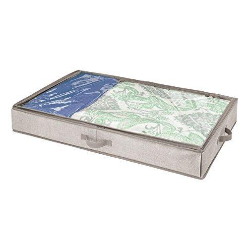 mDesign Unterbettkommode für Kleidung und Schuhe - Aufbewahrungsbox mit Sichtfenster - platzsparende Kleideraufbewahrung aus Polypropylen - beige
