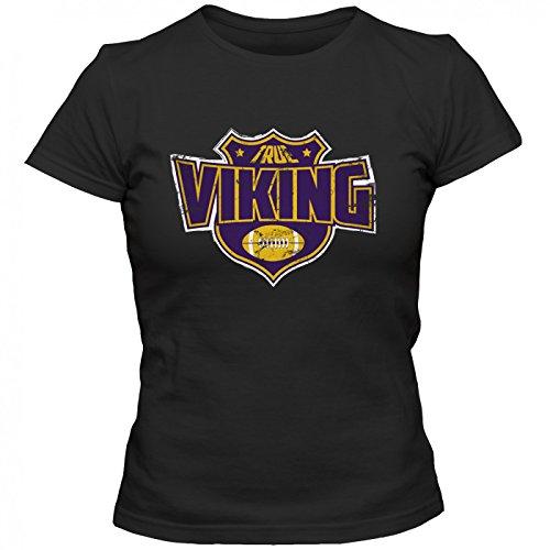 True Viking Premium T-Shirt American FootballShirt Super Bowl NFL Frauen Shirt, Farbe:Schwarz (Deep Black L191);Größe:M