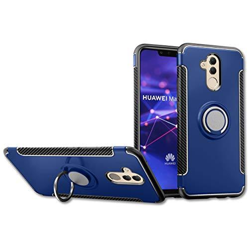 NEWZEROL Ersatz für Huawei Mate 20 Lite Handyhülle mit Magnet 360°Finger Ring Halterung Fahrgestell Autohalterung 3 in 1 Handyhülle [Kratzfest] [Stoßdämpfung][Garantie für lebenslangen Ersatz] - Blau - Ersatz-magnet