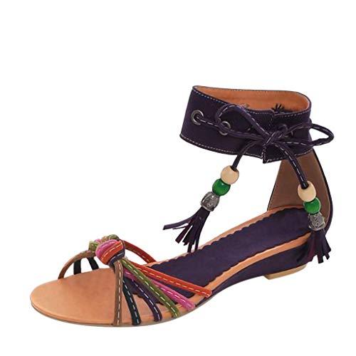en Sandals, Frauen Mode Retro Pumps Schluepfen Schuhe Sandaletten Frauen RöMersandalen Peeps Sandalen Sexy NationalitäT KnöChel Quaste Wohnungen Keilschuhe ()