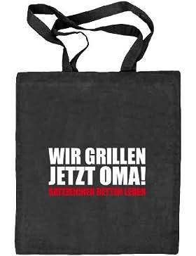 Shirtstreet24, Wir Grillen Jetzt Oma! Stoffbeutel Jute Tasche (ONE SIZE)