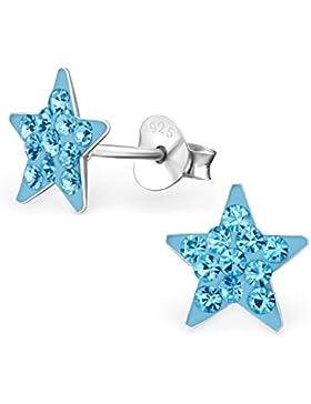 GH1a Aquamarin Kristall Stern Ohrstecker 925 Echt Silber Ohrringe Mädchen Kinder