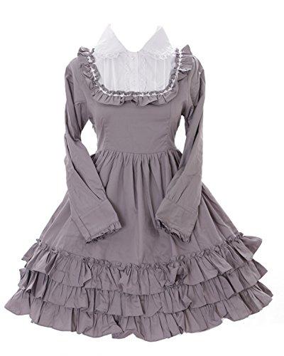 JL-564-2 Grau Gothic Lolita Japan Rüschen Kleid Kostüm dress Cosplay Babydoll Kawaii-Story (M) (Gothic Babydoll Kostüm)