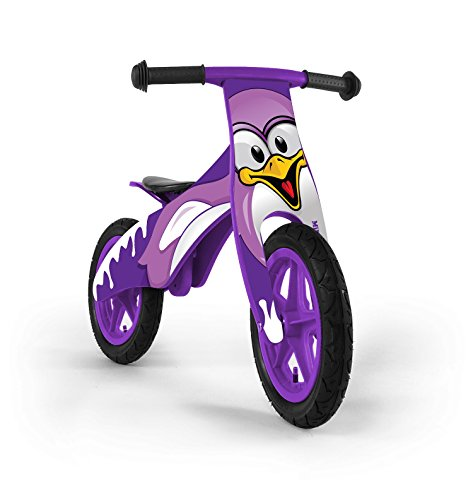 Kinder Laufrad aus Holz, Rädern 12 Zoll mit Luftreifen (Ventil) - 9 verschiedene Designs, Model:Pinguin